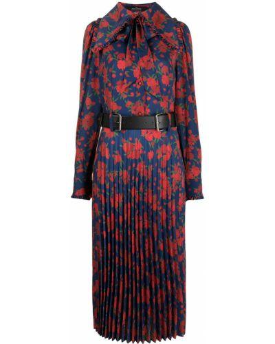 Niebieska sukienka w kwiaty Rokh