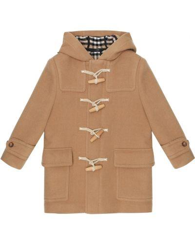 Beżowy wełniany płaszcz Burberry Kids