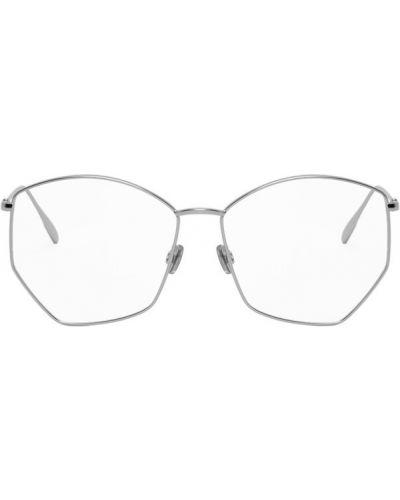 Серебряные кожаные очки для зрения прозрачные Dior