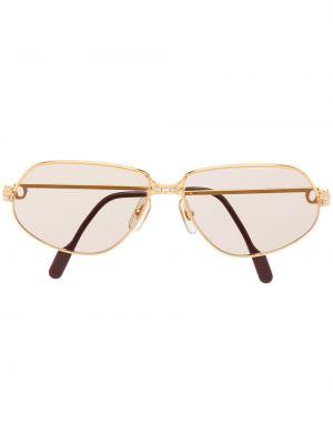 Желтые солнцезащитные очки винтажные позолоченные Cartier