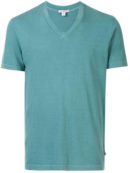 Koszula krótkie z krótkim rękawem prosto zielona James Perse