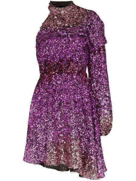 Różowa sukienka mini z długimi rękawami z haftem Halpern