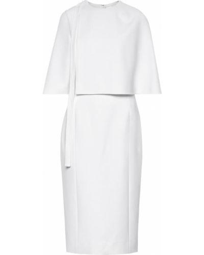 Платье миди в рубчик айвори Oscar De La Renta
