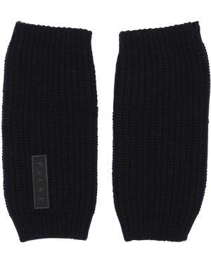 Prążkowane czarne rękawiczki wełniane Falke