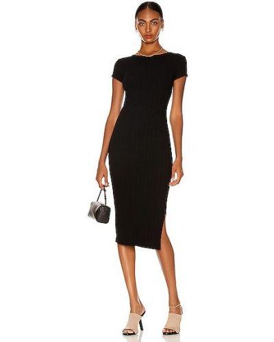 Хлопковое повседневное черное платье с разрезом Enza Costa