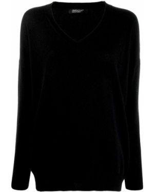 Черный свитер в рубчик с вырезом Aragona