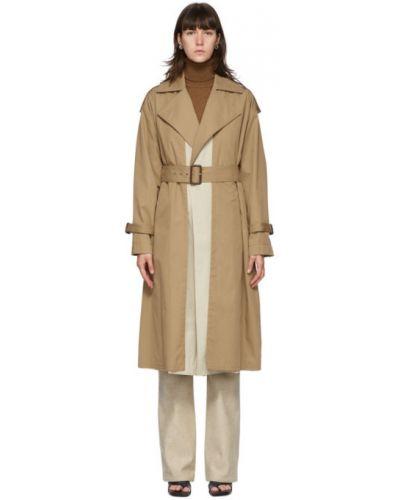 Beżowy długi płaszcz z kołnierzem zapinane na guziki z kieszeniami Victoria Beckham