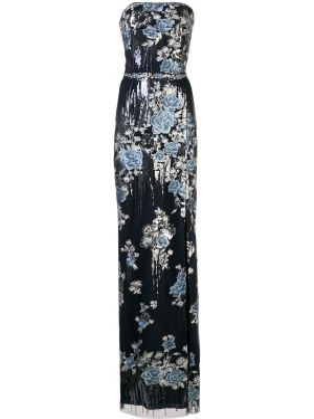 Вечернее платье с цветочным принтом приталенное Marchesa Notte
