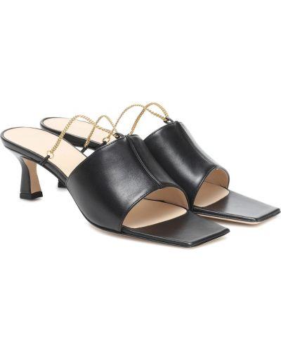 Czarne sandały skorzane Wandler
