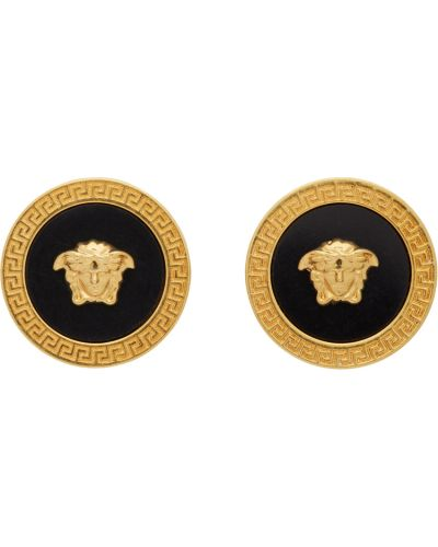 Złote spinki do mankietów - czarne Versace