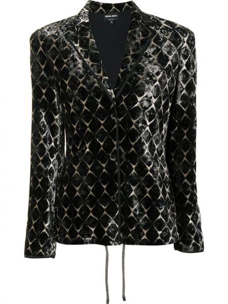 Бархатный черный удлиненный пиджак с воротником Giorgio Armani