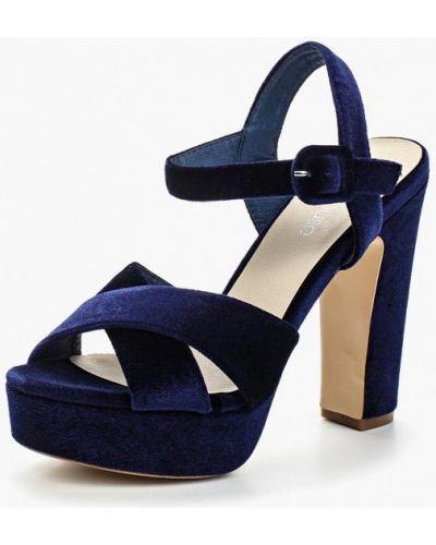 Синие босоножки на каблуке Chicmuse