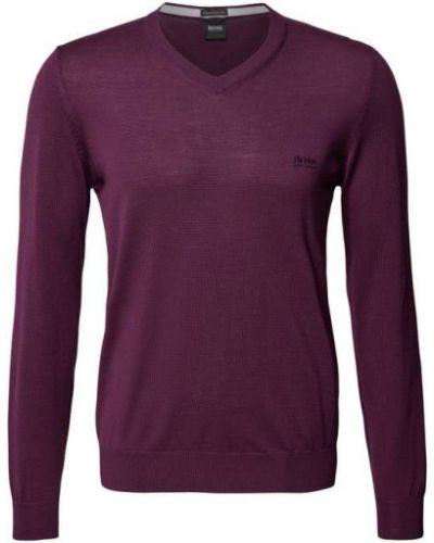 Sweter wełniany - fioletowy Boss