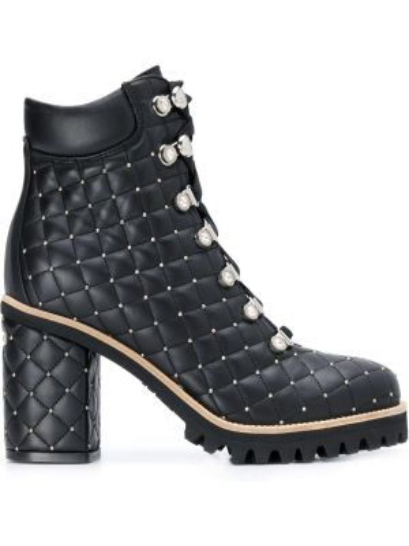 Черные ботинки на каблуке на шнуровке на каблуке круглые Le Silla