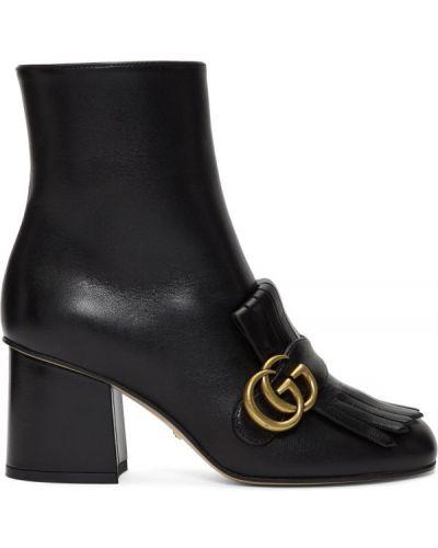 Skórzany czarny buty obcasy prążkowany plac Gucci