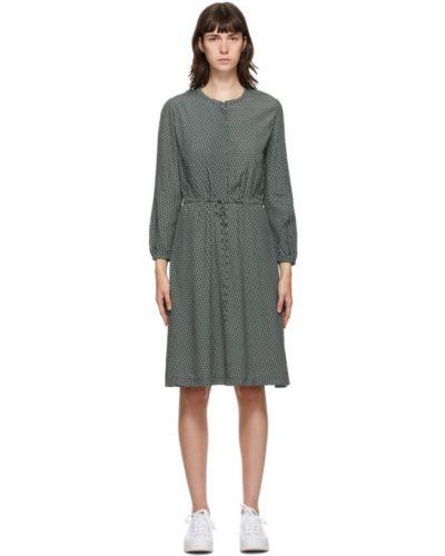 Платье макси с воротником с длинными рукавами с манжетами с карманами A.p.c.