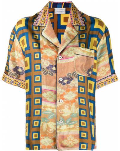 Шелковая классическая рубашка с короткими рукавами с карманами Pierre-louis Mascia