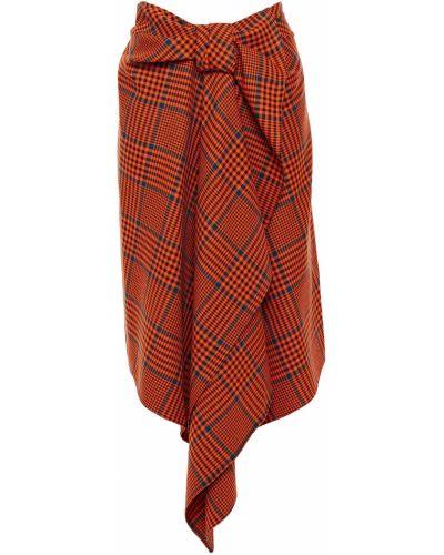 Шерстяная оранжевая плиссированная юбка House Of Holland