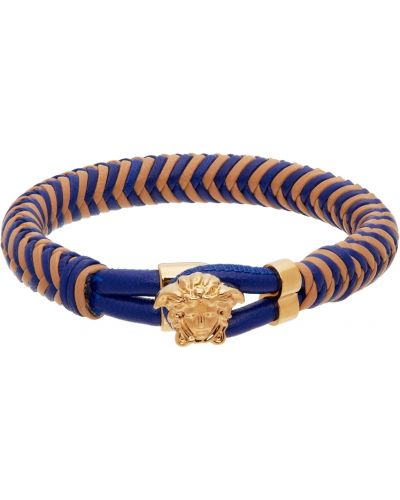 Кожаный браслет - бежевый Versace