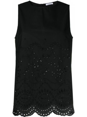 Черная блузка без рукавов с вышивкой P.a.r.o.s.h.