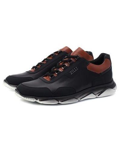 Комбинированные кожаные кроссовки с подкладкой Zilli