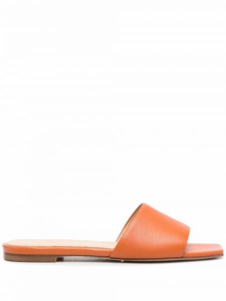 Pomarańczowe sandały skorzane peep toe Aeyde