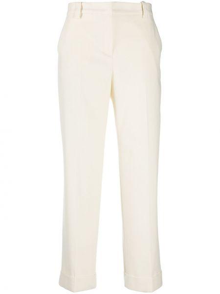 Белые укороченные брюки с отворотом из вискозы с потайной застежкой Pt01