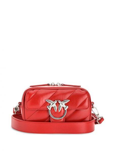Стеганая красная кожаная сумка через плечо Pinko