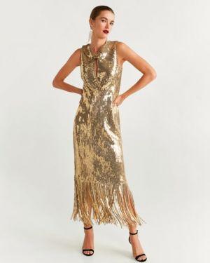 Платье с пайетками с вышивкой Mango