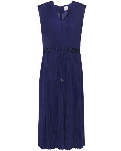 Плиссированное шелковое синее платье миди Paul Smith