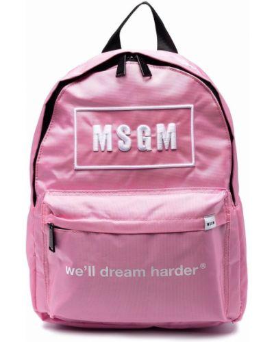 Biały plecak z haftem Msgm Kids