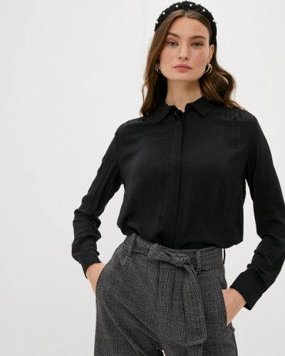 С рукавами черная блузка United Colors Of Benetton