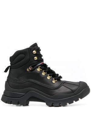 Черные кожаные ботинки трекинговые на шнуровке Tommy Hilfiger