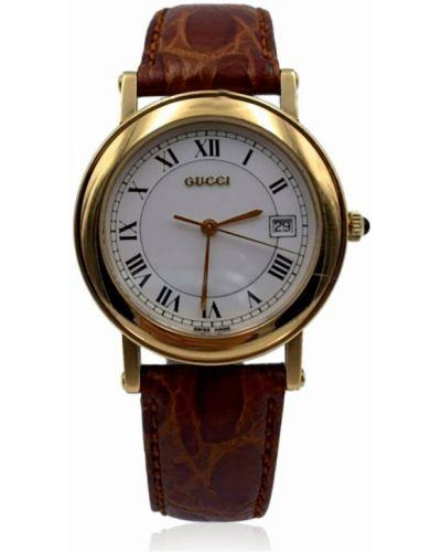 Żółty zegarek na skórzanym pasku srebrny vintage Gucci Vintage