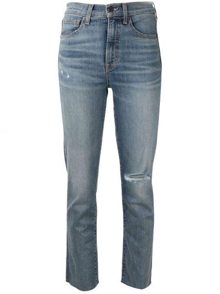 Хлопковые прямые синие джинсы классические с карманами Veronica Beard