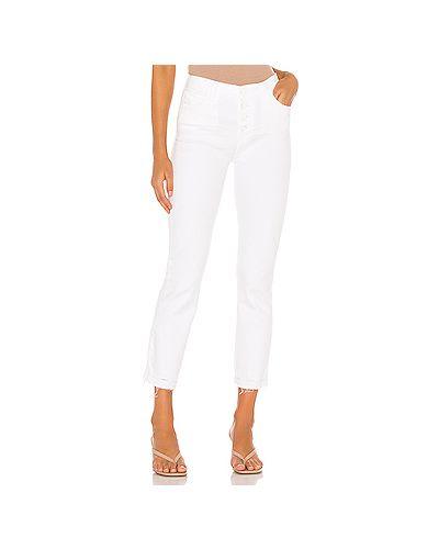 Прямые хлопковые прямые джинсы на пуговицах узкого кроя Paige