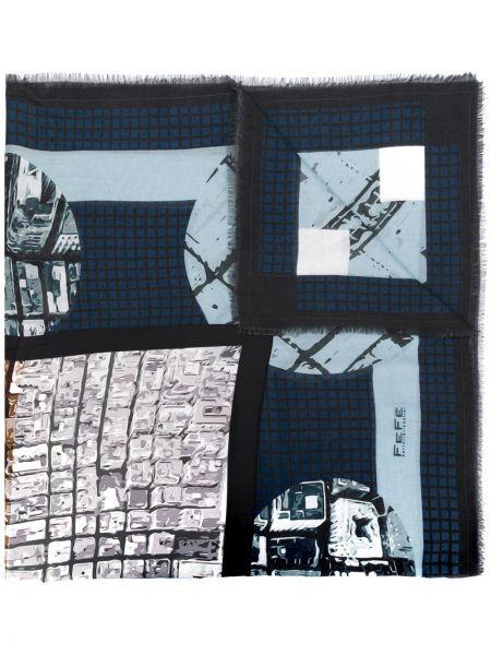 Prążkowany szalik wełniany z printem Fefe