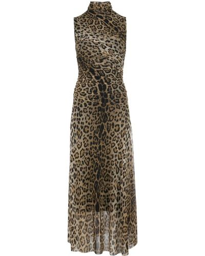 Платье миди с принтом - коричневое Fuzzi
