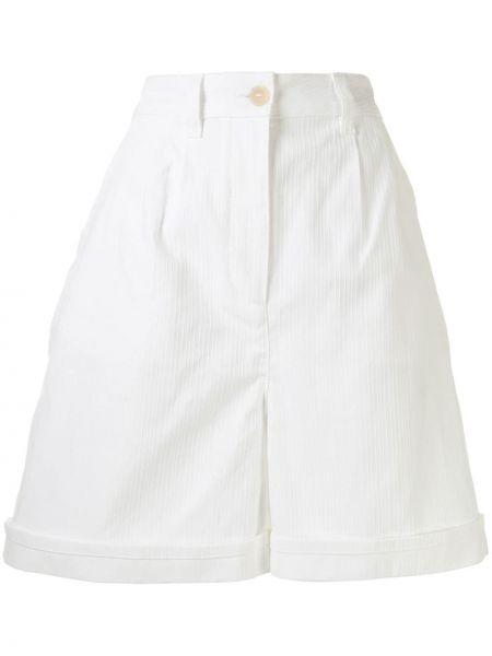 Хлопковые белые шорты с карманами Loewe