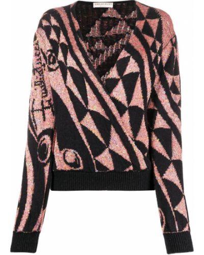 Черный вязаный джемпер с вырезом Emilio Pucci