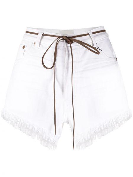 Джинсовые шорты с карманами с бахромой One Teaspoon