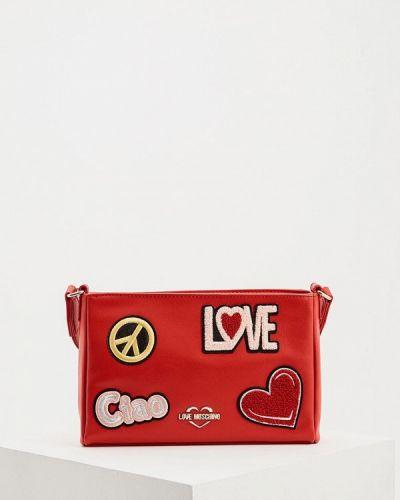 Кожаная сумка через плечо красная Love Moschino