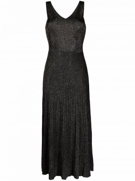 Трикотажное черное платье миди без рукавов Roberto Collina