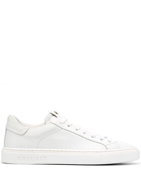 Кожаные кроссовки белый с логотипом Hide&jack