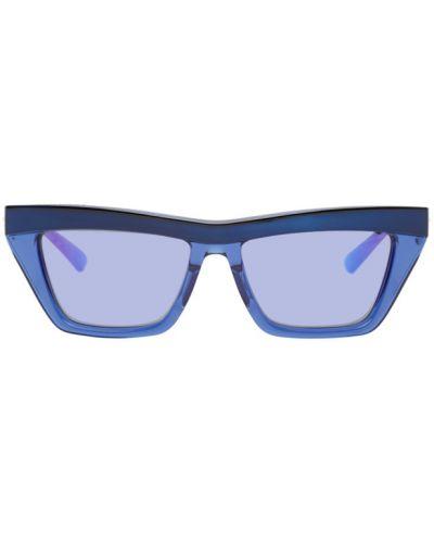 Złote niebieskie okulary Bottega Veneta