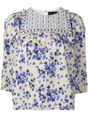 Niebieska bluzka bawełniana w kwiaty Nicole Miller