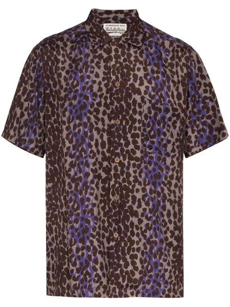 Фиолетовая рубашка с короткими рукавами с воротником свободного кроя на пуговицах Wacko Maria