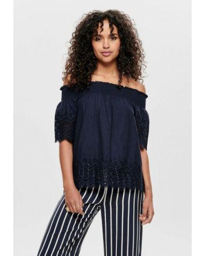 Блузка с открытыми плечами синяя весенний Only