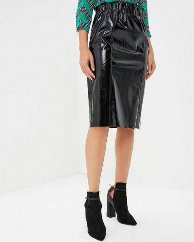 Кожаная юбка осенняя черная Imperial