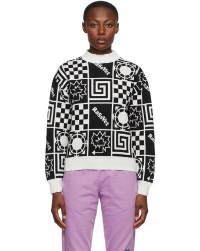 Шерстяной белый свитер с воротником с манжетами Rassvet